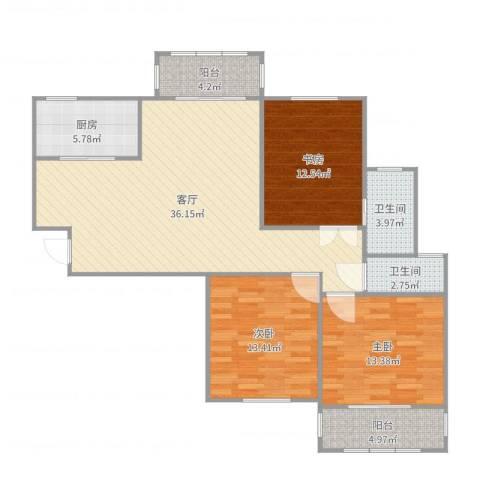 广晟苑3室1厅2卫1厨121.00㎡户型图