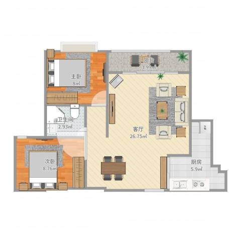 幸福源2室1厅1卫1厨70.00㎡户型图