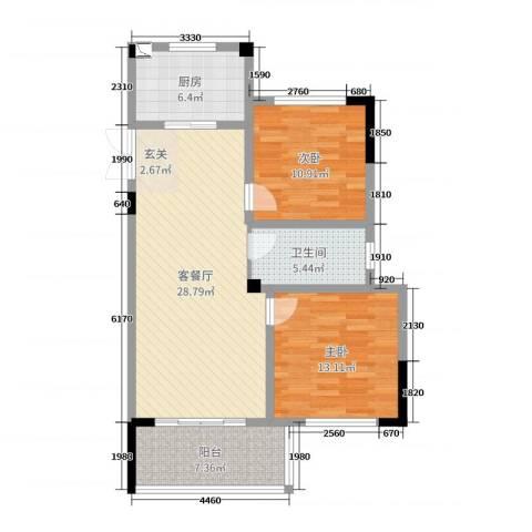 旷达太湖花园2室2厅1卫1厨85.00㎡户型图