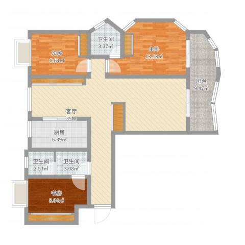紫麟苑3室1厅3卫1厨118.00㎡户型图