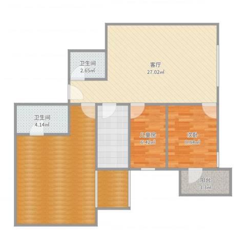 天创世缘2室1厅4卫1厨104.00㎡户型图