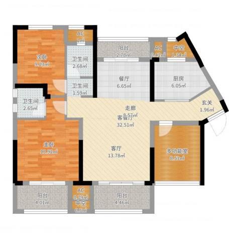 中航山水蓝天2室2厅2卫1厨114.00㎡户型图