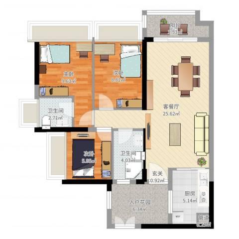 东建锦绣龙湾3室2厅2卫1厨104.00㎡户型图