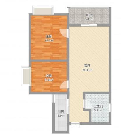 天下荣郡E5-1-2002户型2室1厅1卫1厨80.00㎡户型图