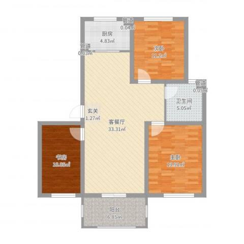 玫瑰花城3室2厅1卫1厨107.00㎡户型图