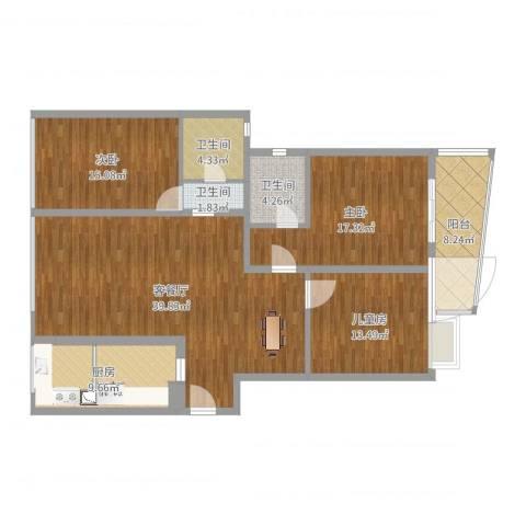 左岸名苑3室2厅3卫1厨143.00㎡户型图