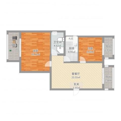 铭城花园2室2厅1卫1厨91.00㎡户型图