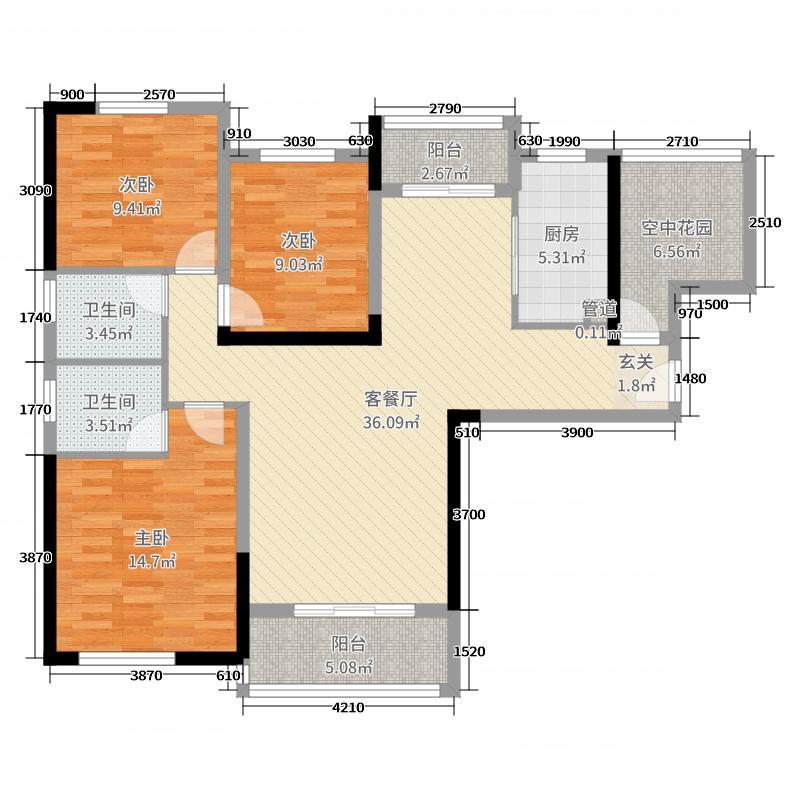中国电建湘熙水郡128.00㎡二期12#C3户型4室4厅2卫1厨