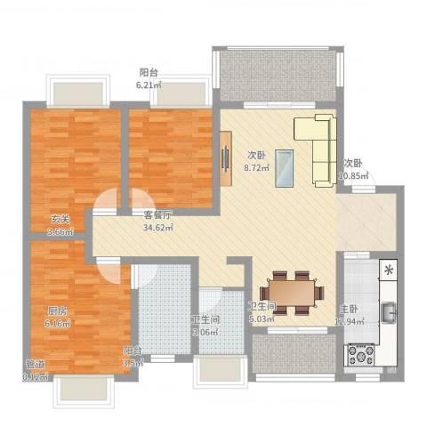 逸境・新城3室2厅2卫1厨114.00㎡户型图