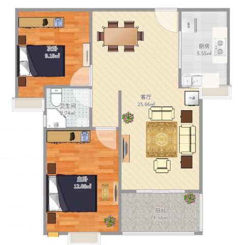多伦多国际花园2室1厅1卫1厨89.00㎡户型图