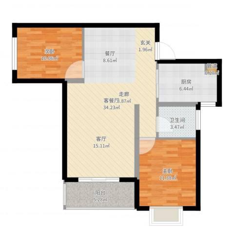 星海花园2室2厅1卫1厨89.00㎡户型图