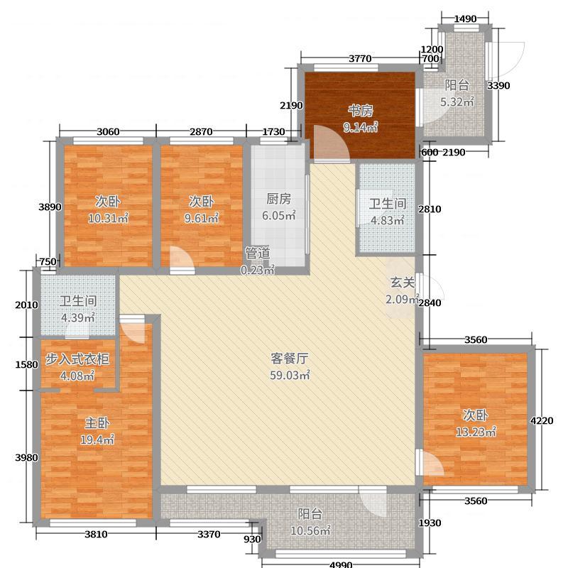 朗诗人民路8号190.00㎡一期3号楼0、0标准层户型5室5厅2卫1厨
