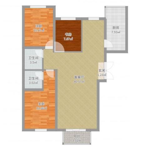 首创・象墅3室2厅2卫1厨111.00㎡户型图