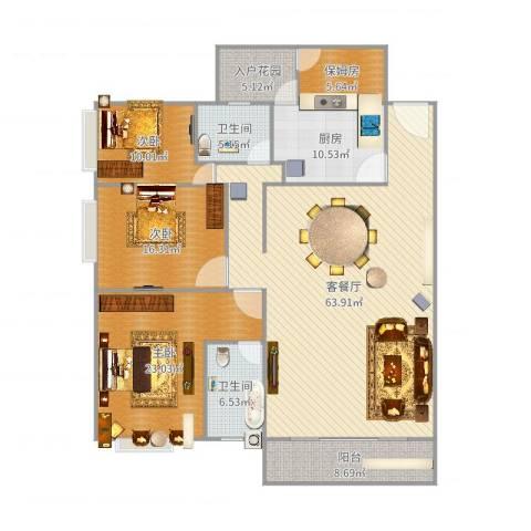 君临宝邸3室2厅2卫1厨194.00㎡户型图