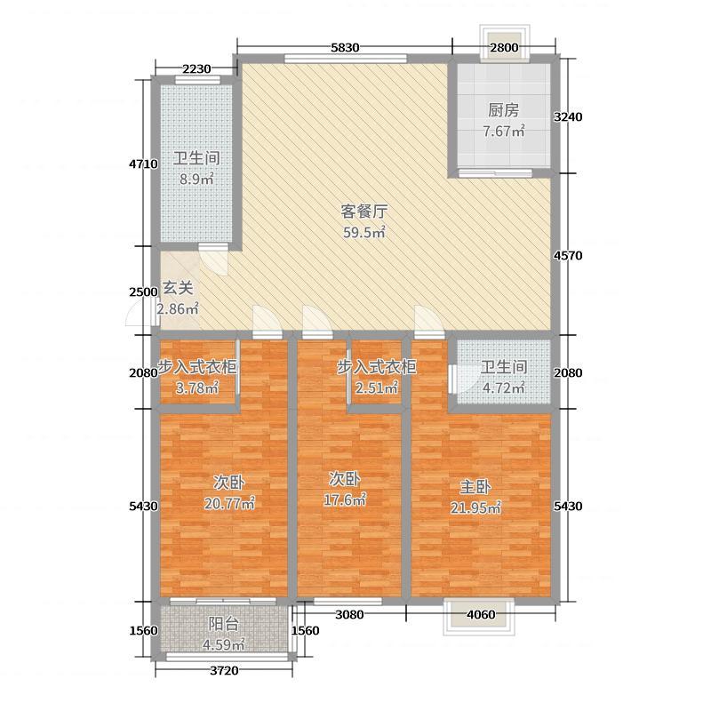 盛德世纪家园190.00㎡二期小高层三号楼标准层B户型3室3厅2卫1厨