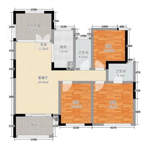 天顺御河湾3室2厅2卫1厨135.00㎡户型图