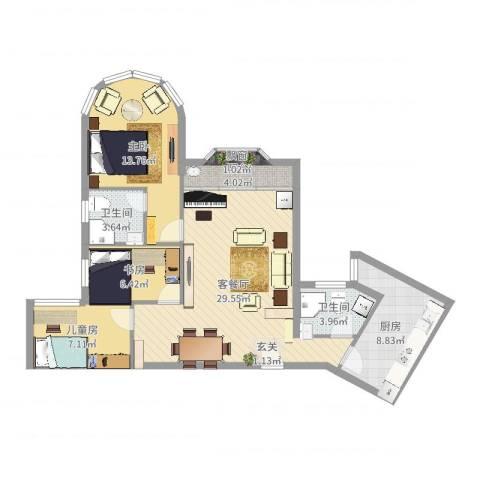 君临天下3室2厅2卫1厨97.00㎡户型图