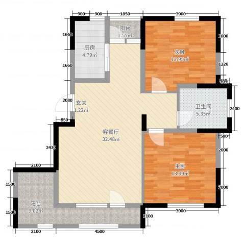 依云溪谷二期2室2厅1卫1厨98.00㎡户型图