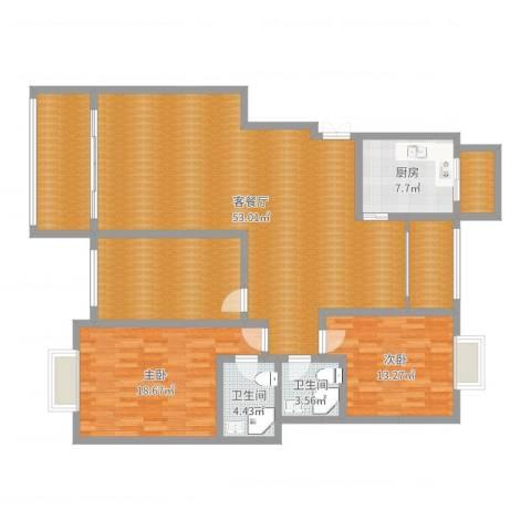 天一康园项总150户型2室2厅2卫1厨162.00㎡户型图