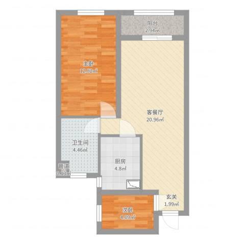 龙湾府2室2厅1卫1厨63.00㎡户型图