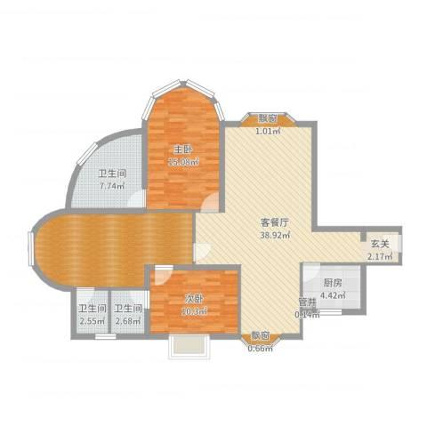 君临天下2室2厅3卫1厨125.00㎡户型图