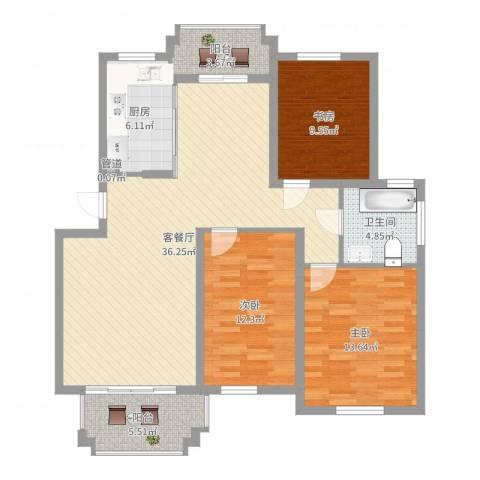 泓润花园3室2厅1卫1厨115.00㎡户型图