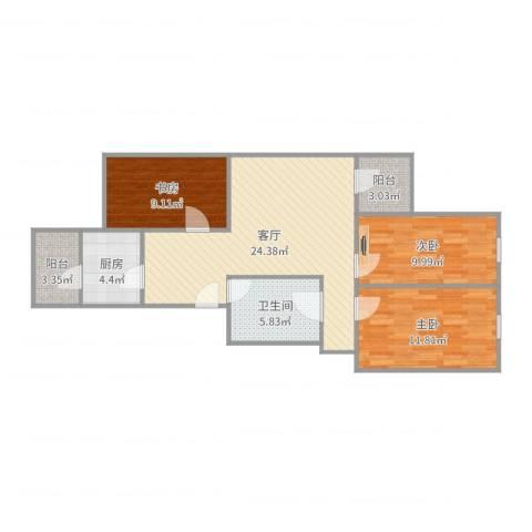林大北路9号院3室1厅1卫1厨90.00㎡户型图