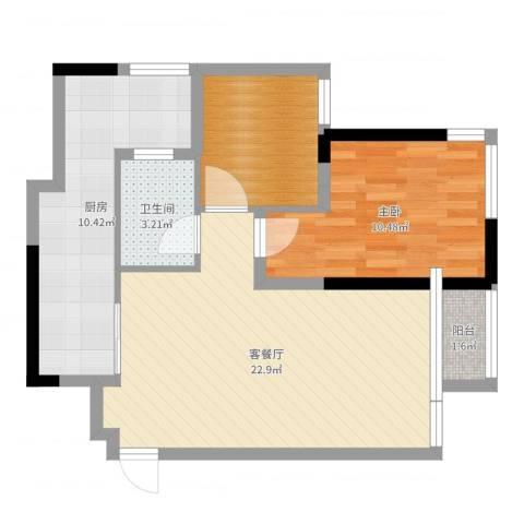 晟凡・兴龙湖一号1室2厅1卫1厨69.00㎡户型图