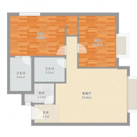 静安紫苑2室2厅2卫1厨90.00㎡户型图