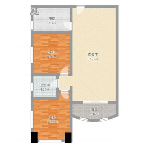 静安国际广场公寓2室2厅1卫1厨102.00㎡户型图