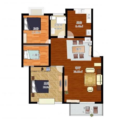 银河花园3室1厅1卫1厨117.00㎡户型图