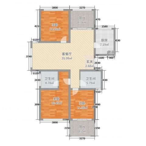 天顺御河湾3室2厅2卫1厨136.00㎡户型图