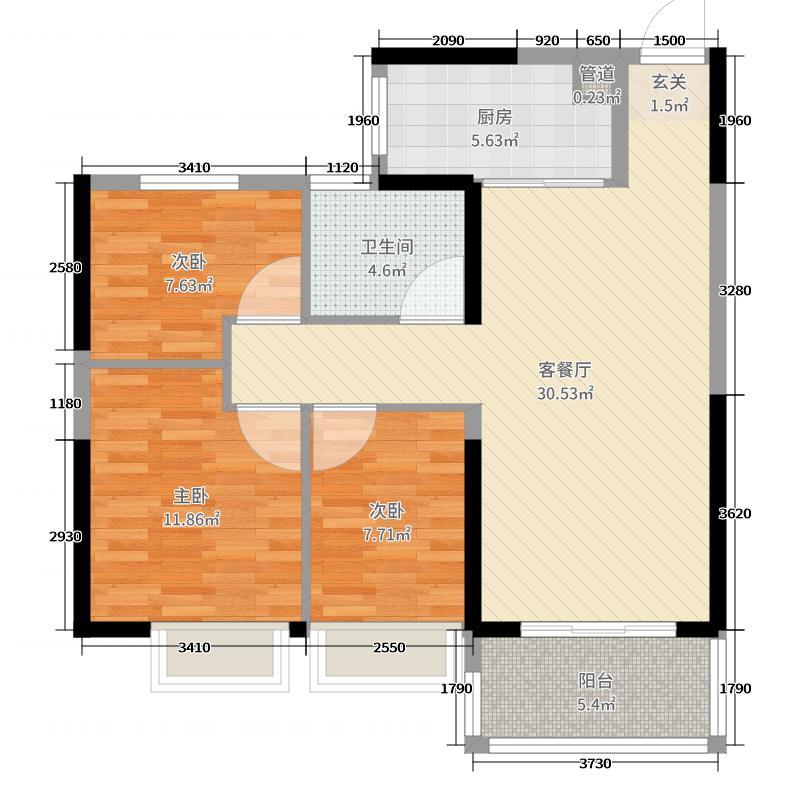 恒大水晶国际广场92.00㎡D1户型3室3厅1卫1厨
