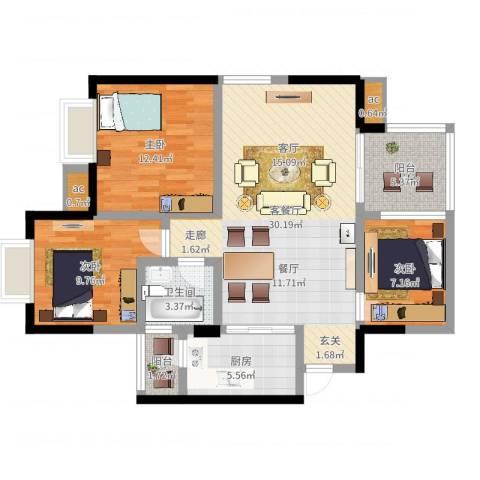 凯丽景湖三期3室2厅1卫1厨96.00㎡户型图