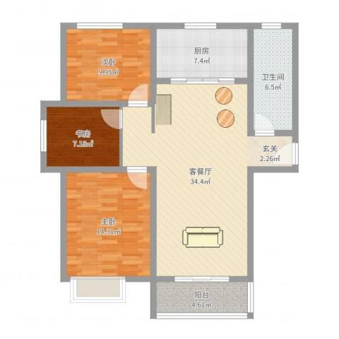 大顺花园3室2厅1卫1厨105.00㎡户型图