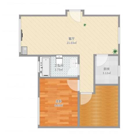 四方新城-06-030B1室1厅1卫1厨55.00㎡户型图
