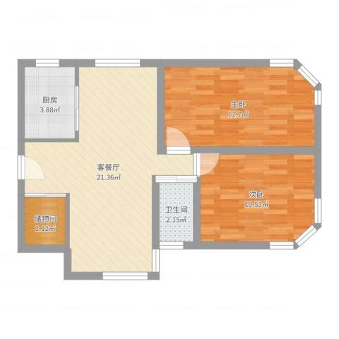 四方新城2室2厅1卫1厨66.00㎡户型图