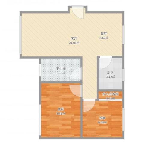 四方新城-06-030B2室1厅1卫1厨55.00㎡户型图