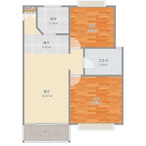 同方锦城二期2室1厅1卫1厨74.00㎡户型图