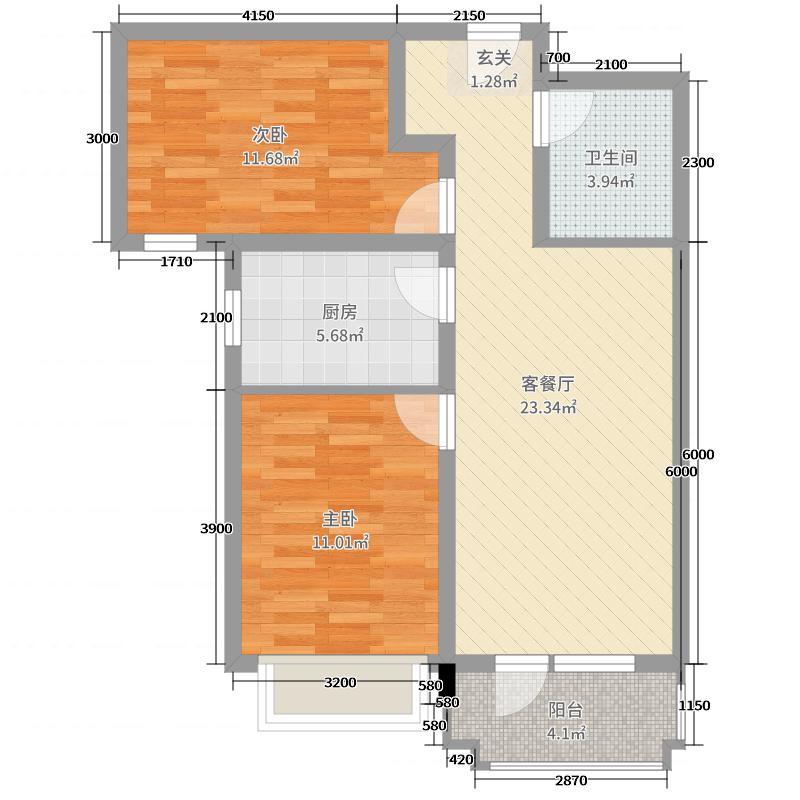 国瑞生态城84.00㎡2居户型2室2厅1卫1厨