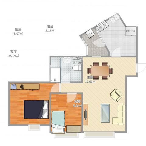 国美第一城2室1厅1卫1厨86.00㎡户型图