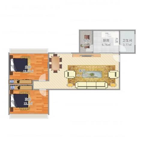 天力居62平方2室1厅1卫1厨89.00㎡户型图