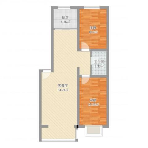丽水山城2室2厅1卫1厨80.00㎡户型图