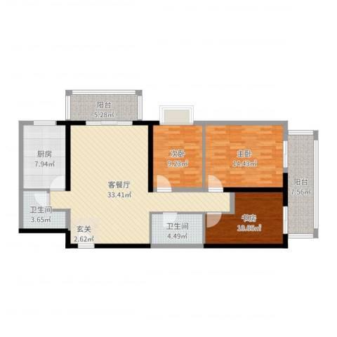 庆阳观邸东南户3室2厅2卫1厨120.00㎡户型图