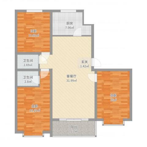 白金汉府3室2厅2卫1厨115.00㎡户型图