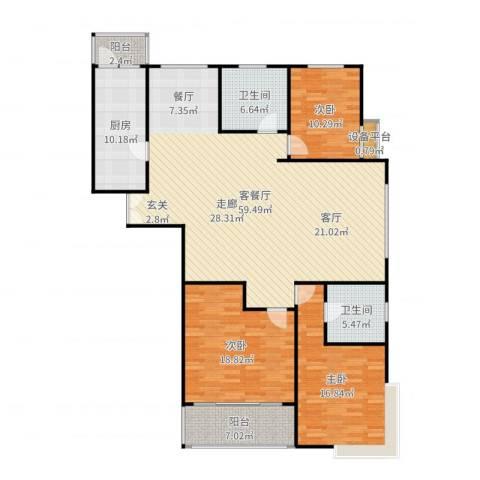 康宁雅庭3室2厅2卫1厨172.00㎡户型图