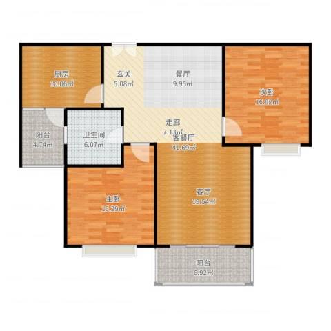 康宁雅庭2室2厅1卫1厨127.00㎡户型图