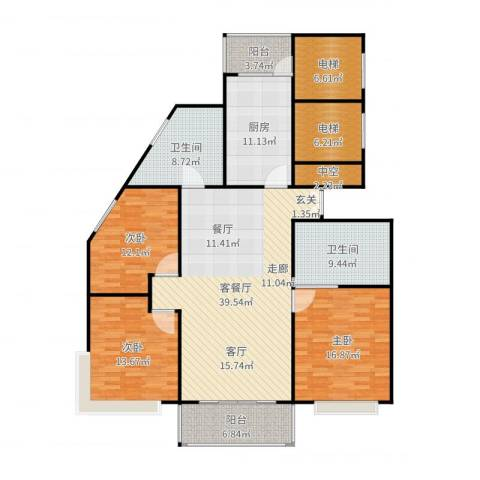 康宁雅庭3室2厅2卫1厨171.00㎡户型图