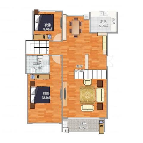 溪湖春天11栋2单元1012室1厅1卫1厨128.00㎡户型图