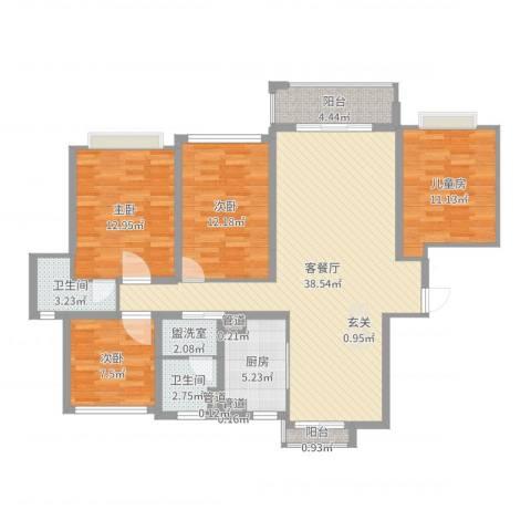 幸福壹号公馆4室2厅2卫1厨127.00㎡户型图